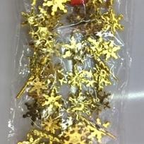 Бусы на ёлку золото 3м ″Снежинки и сосульки″ d-2.5см купить оптом и в розницу