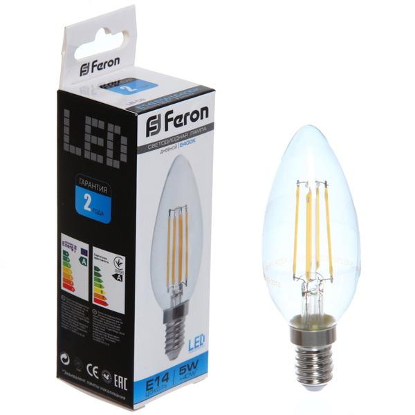 Лампа светодиод.филамент СВЕЧА 5Вт E14 6400K дневной LB-58 Feron купить оптом и в розницу