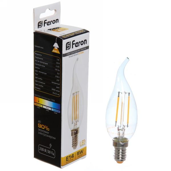 Лампа светодиод.филамент СВЕЧА на ветру 5Вт E14 2700K белый теплый LB-59 Feron купить оптом и в розницу