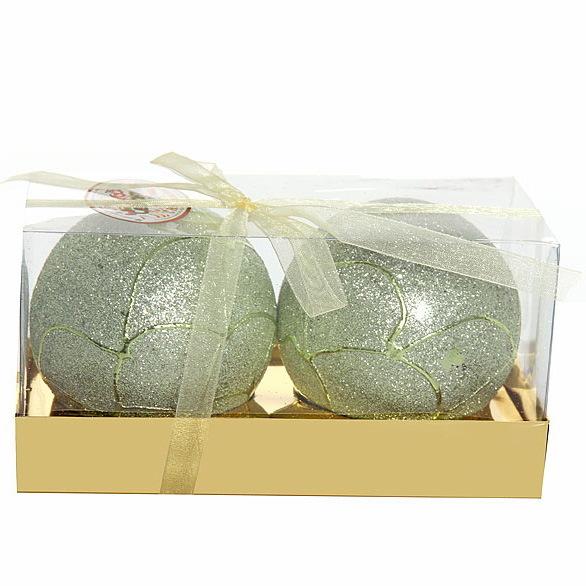 Новогодние шары ″Изумруд в кружевах″ 8см (набор 2шт.) купить оптом и в розницу