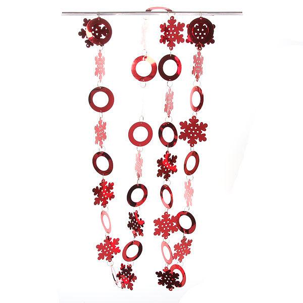Бусы на ёлку красные 2,4м ″Снежинки и кружки″ купить оптом и в розницу