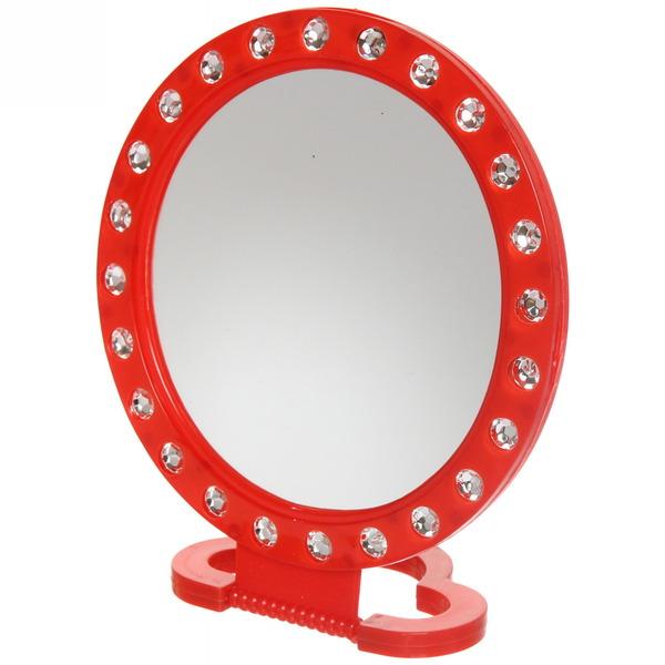 Зеркало настольное в пластиковой оправе ″Белые выемки″ круг, подвесное d-15см купить оптом и в розницу