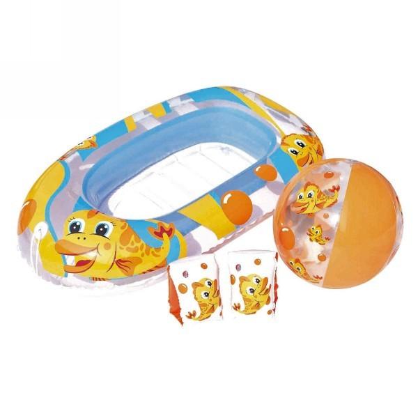 Пляжный набор:мяч 51см, нарукавники 25х15см, лодочка 112х71см, в сумке на колесиках Bestway (34083) купить оптом и в розницу
