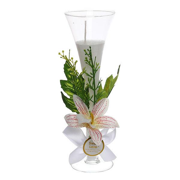 Свеча ″Орхидея Белая″ 20см ZH88 купить оптом и в розницу