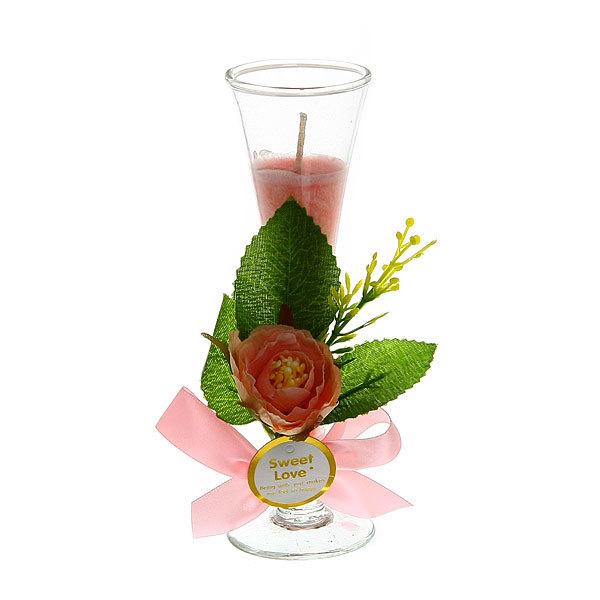Свеча в бокале ″Роза нежность″ 15 см купить оптом и в розницу