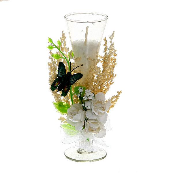 Свеча ″Букет роз с бабочкой″ 15 см купить оптом и в розницу