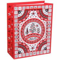 Пакет подарочный 18х23 см вертикальный ″Пусть все получится!″, Мезенская роспись купить оптом и в розницу