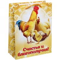 Пакет подарочный 18х23 см вертикальный ″Счастья и благополучия″, Куриное семейство купить оптом и в розницу