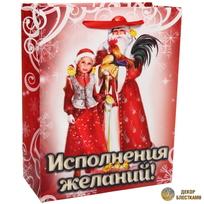 Пакет 18х23 см усиленный с блестками ″Исполнения желаний!″, Дед Мороз и внучка, вертикальный купить оптом и в розницу