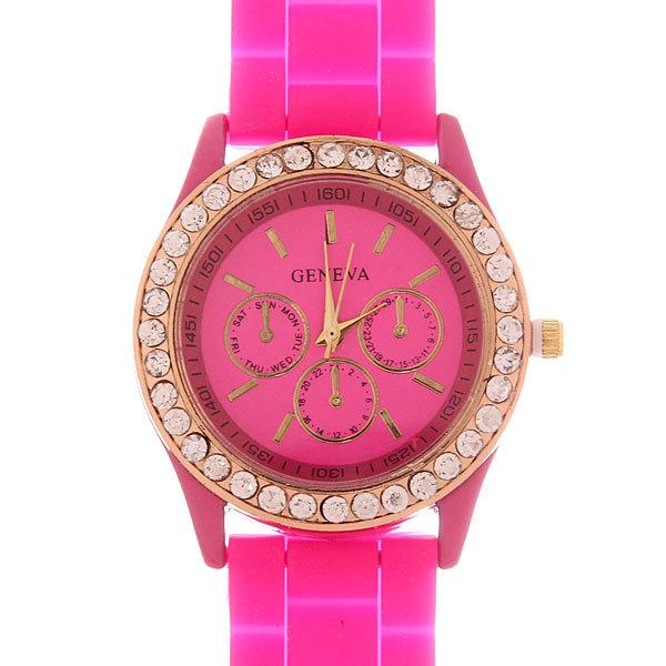 Часы наручные на силиконовом ремешке со стразами Женева, цвет фуксия купить оптом и в розницу