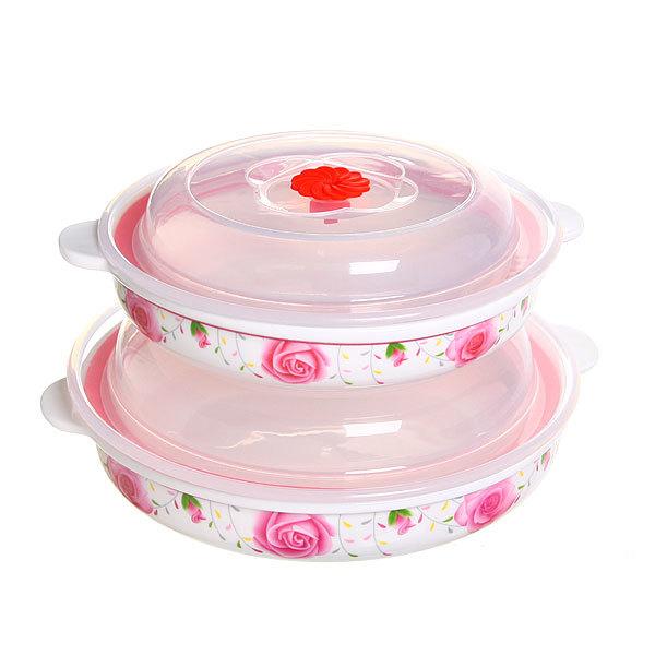 Набор салатников керамических 2шт с крышками ″Розы″ 300,500мл купить оптом и в розницу