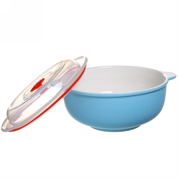 Набор салатников керамических 2шт с крышками ″Изабель″ 800,1400мл голубой купить оптом и в розницу