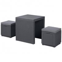 Комплект садовой мебели  ( ротанг) ARIZONA SET  Curver 2 стула,стол антрацит/серый полиэстр купить оптом и в розницу