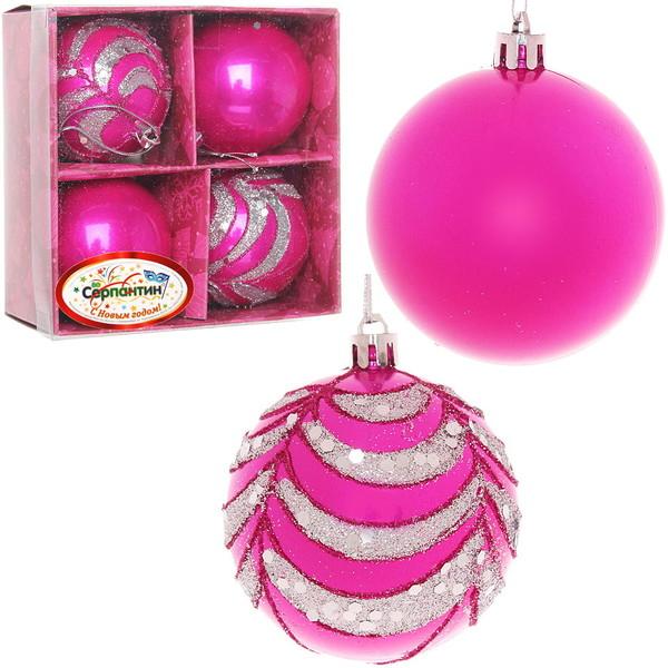 Новогодние шары ″Гламурное ассорти″ 7см (набор 4шт.) купить оптом и в розницу