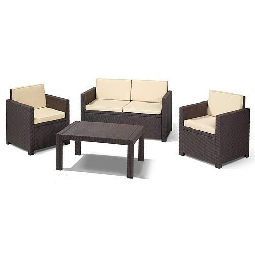 Набор мебели  VICTORIA 2 стула,диван,стол коричн./беж.полиэстр с подушками купить оптом и в розницу