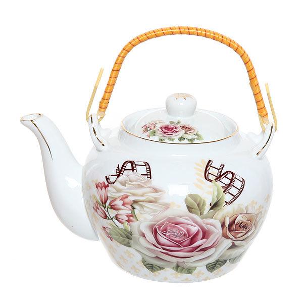 Чайник заварочный керамический 700 мл ″Розы″ купить оптом и в розницу