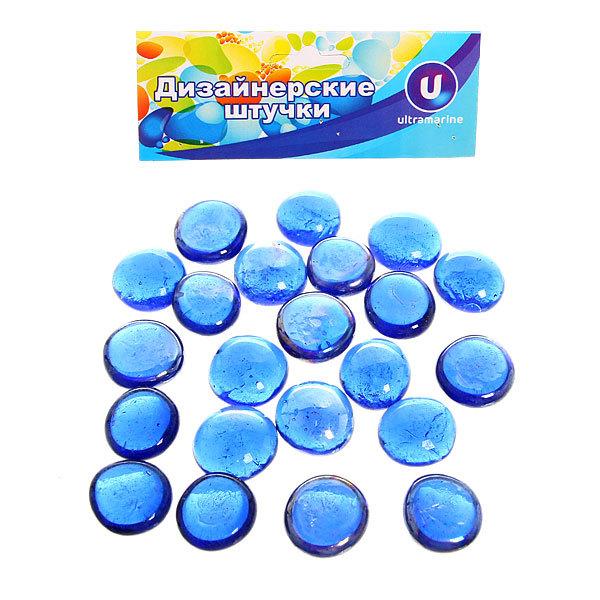 Украшение декоративное стеклянные шарики для дизайна ″Синие кристаллы″ 100гр 17-19 купить оптом и в розницу