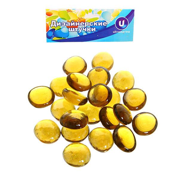 Стеклянные камушки декоративные ″Янтарные кристаллы″ 100гр d17-19 купить оптом и в розницу