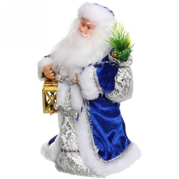 Дед Мороз музыкальный 25см с фонарем в синем кафтане купить оптом и в розницу