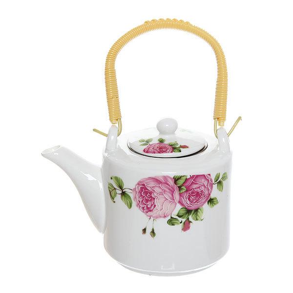 Чайник заварочный керамический 500 мл ″Цветы″ №4 купить оптом и в розницу