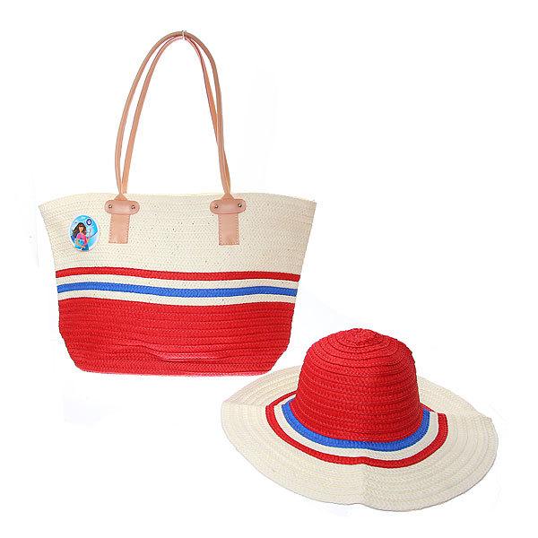 Сумка пляжная и шляпа ″Стиль-шик″, цвет красный 51*36*13 купить оптом и в розницу