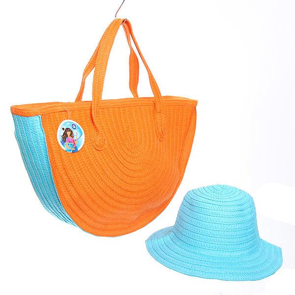 Сумка пляжная и шляпа ″Стиль-шик″, оранжевый 48*32*10 купить оптом и в розницу