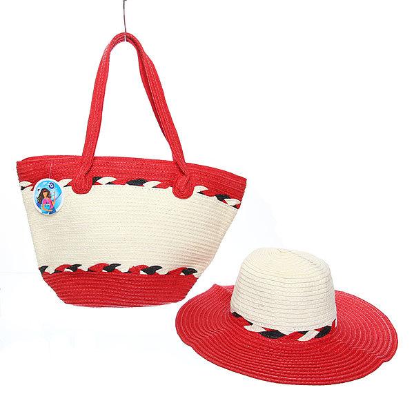 Сумка пляжная и шляпа ″Стиль-шик″, цвет бело-красный 47*33*14 купить оптом и в розницу