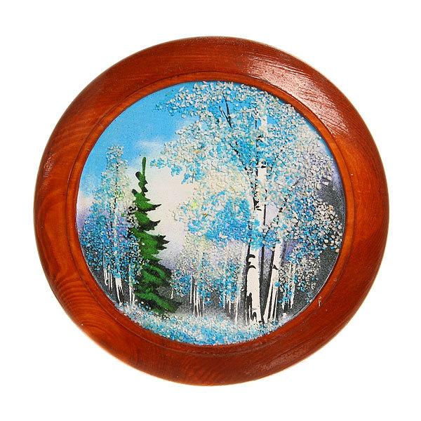 Панно из натурального камня ″Зима в лесу″, диам.19 см купить оптом и в розницу