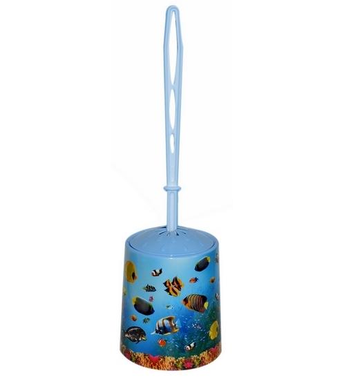 """Набор для WC (ёрш+подставка) круглый с декором """"Океан""""* 26 купить оптом и в розницу"""