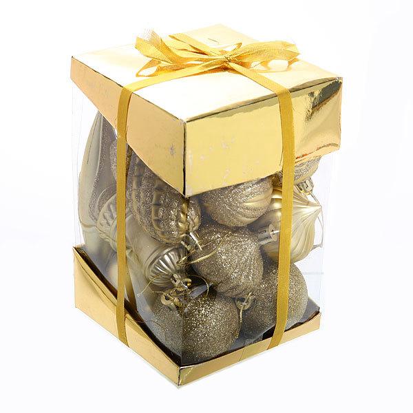 Елочные игрушки, набор 24 шт ″Волшебство″ золото купить оптом и в розницу