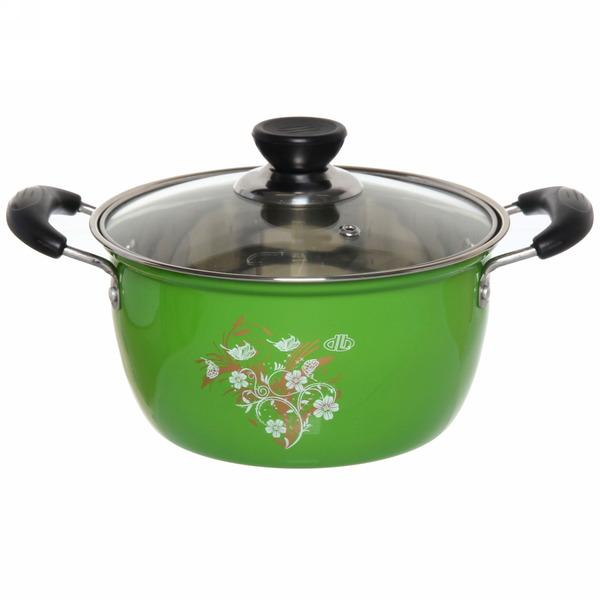 Кастрюля металлическая d 20 см, 3,0л зеленая купить оптом и в розницу