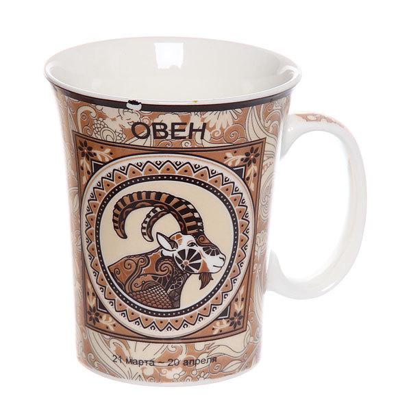 Кружка фарфоровая 340мл ″Знаки зодиака″, коричневая купить оптом и в розницу