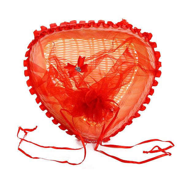 Корзина декоративная с тканью сердце 19*20*8 см В335 купить оптом и в розницу