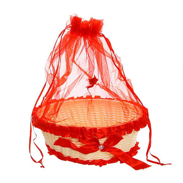 Корзина декоративная с тканью круглая 21*8 см В34 купить оптом и в розницу