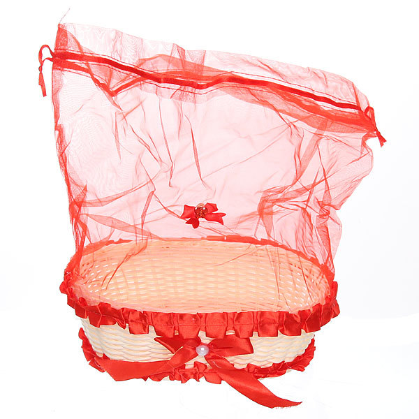 Корзина декоративная с тканью овальная 24*7*8 см В35 купить оптом и в розницу
