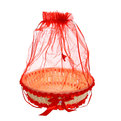 Корзина декоративная с тканью большая круглая 26*7 см В714 купить оптом и в розницу