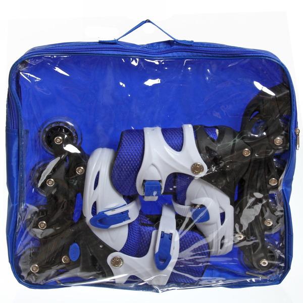 Коньки роликовые раздвижные Happy Star 139-1 синий/белый р-р M (34-39,колеса PVC) купить оптом и в розницу