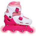Коньки роликовые раздвижные Happy Star 139-1 розовый/белый р-р M (34-39,колеса PVC) купить оптом и в розницу