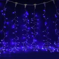 Занавес светодиодный ш 2 * в 3м, 432 ламп LED, ″Дождь″, Синий, 8 реж, прозр.пров. купить оптом и в розницу