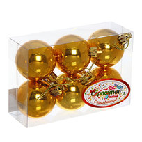 Новогодние шары ″Золото″ 5см (набор 6шт.) купить оптом и в розницу