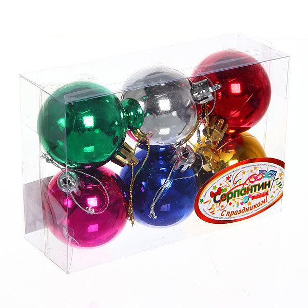 Новогодние шары 5 см ″Глянец″ набор 6 шт, микс купить оптом и в розницу