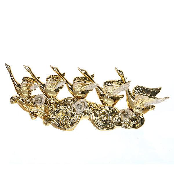 Статуэтка керамическая ″Лебеди золотые″ с розами, 15,5*40см купить оптом и в розницу