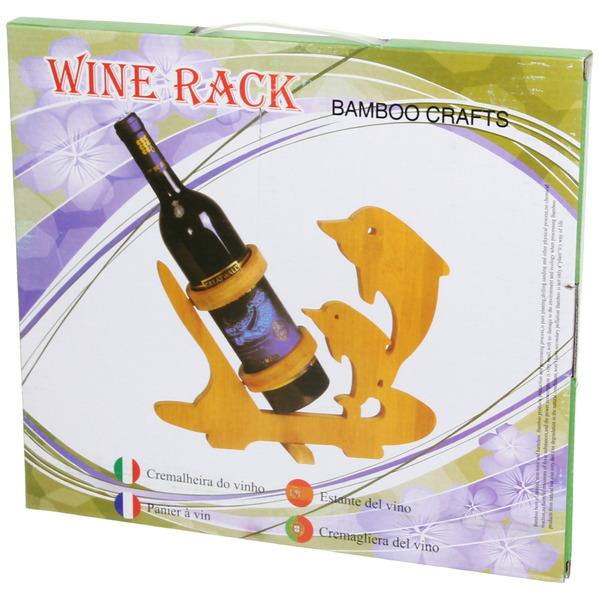 Подставка декоративная бамбуковая под бутылку ″Два дельфина″ купить оптом и в розницу
