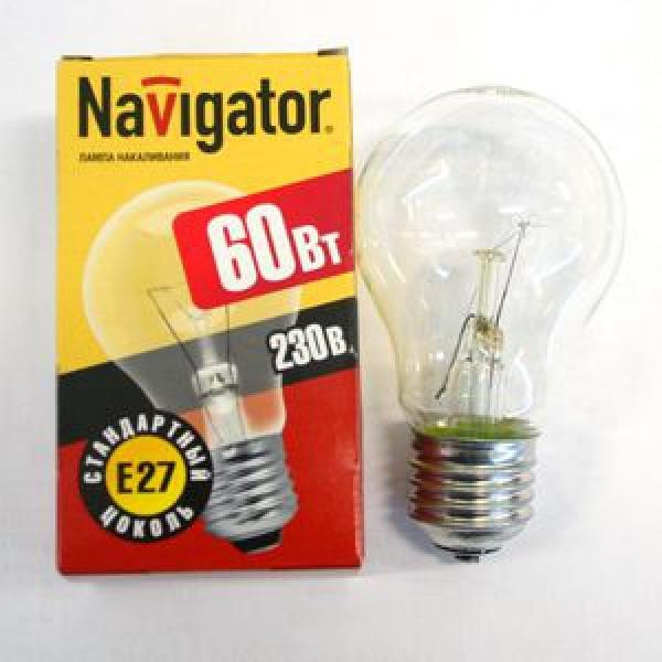Лампа накаливания Navigator NI-A-60Вт-E27-230В-СL прозрачн.стандарт (10/100) купить оптом и в розницу