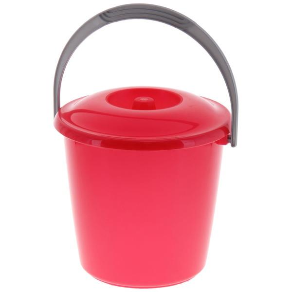 Ведро 3л ″Соло″ с крышкой перламутровое красное купить оптом и в розницу