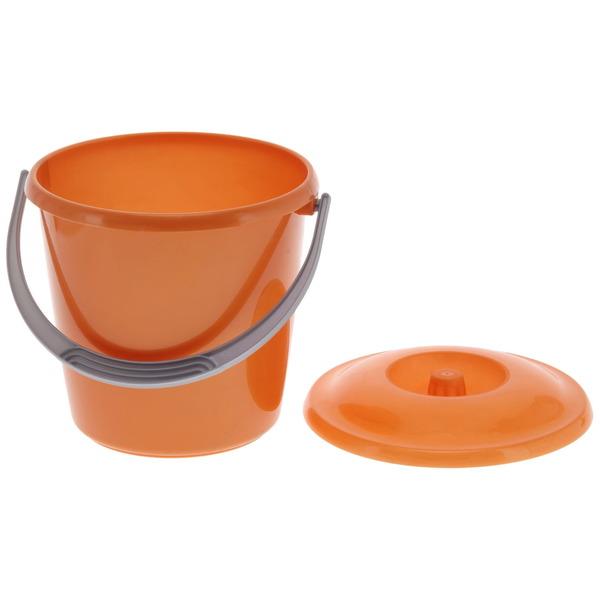 Ведро 3л ″Соло″ с крышкой перламутровое оранжевое купить оптом и в розницу
