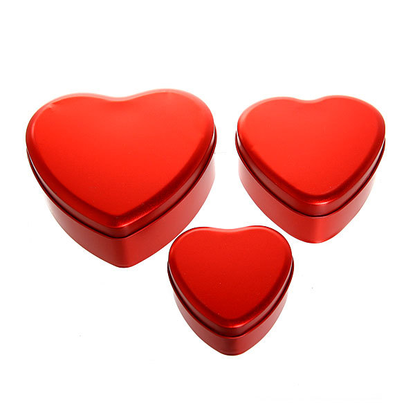 Шкатулка металлическая ″ Сердце ″ красное 3 шт (11*12*5, 9*9*4, 7*7*4) купить оптом и в розницу