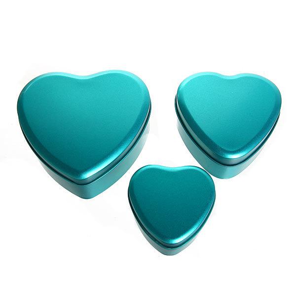Шкатулка металлическая ″ Сердце ″ бирюзовое 3 шт (11*12*5, 9*9*4, 7*7*4) купить оптом и в розницу