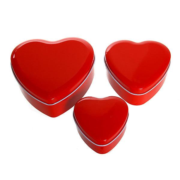 Шкатулка металлическая ″ Сердечко ″ красное 3 шт (11*12*5, 9*9*4, 7*7*4) купить оптом и в розницу