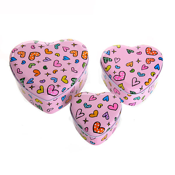 Шкатулка металлическая ″ Сердечко ″ розовое 3 шт (11*12*5, 9*9*4, 7*7*4) купить оптом и в розницу